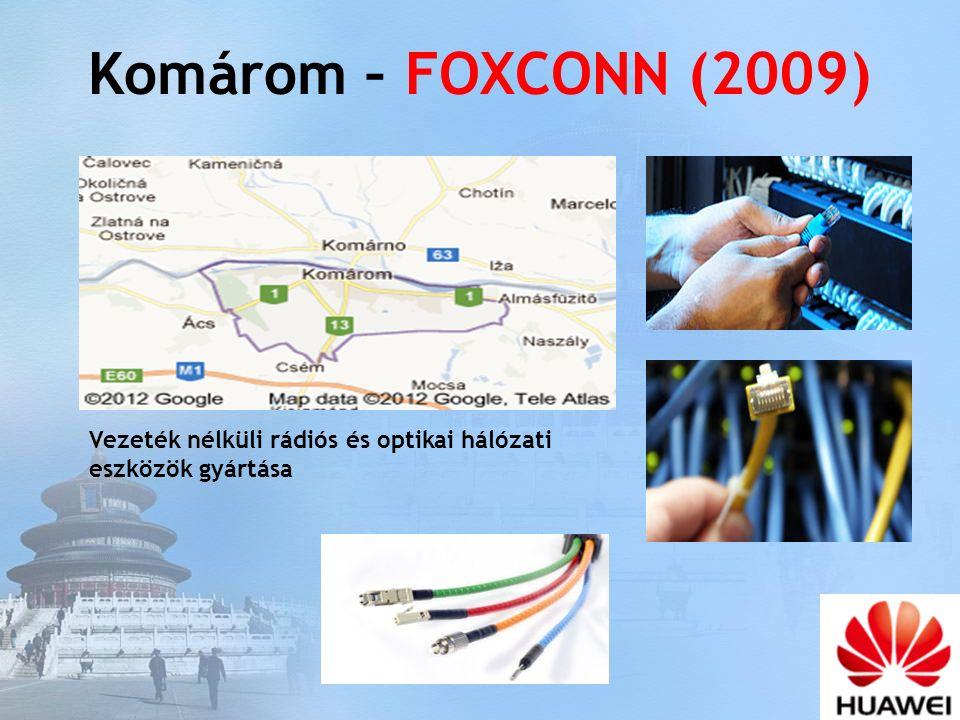 Komárom – FOXCONN (2009) Vezeték nélküli rádiós és optikai hálózati eszközök gyártása