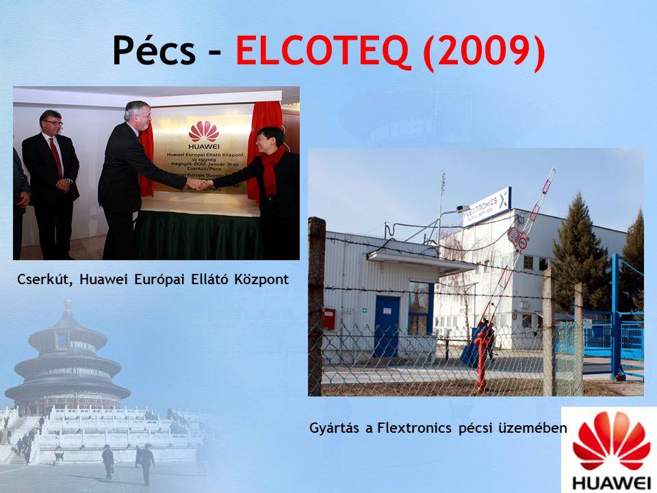 Pécs – ELCOTEQ (2009) Gyártás a Flextronics pécsi üzemében Cserkút, Huawei Európai Ellátó Központ