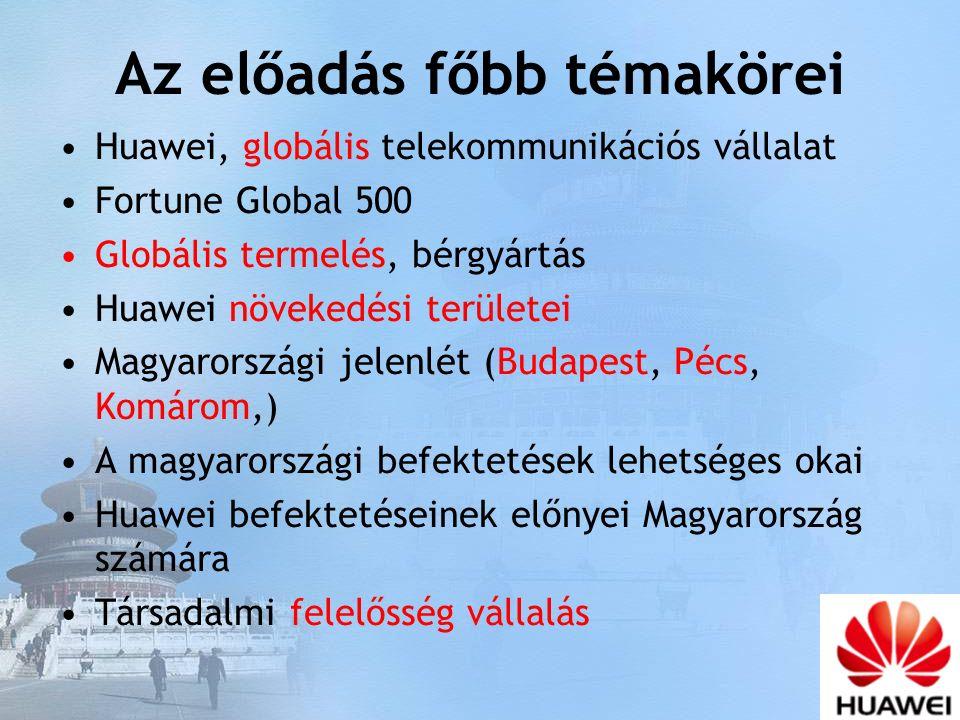 Az előadás főbb témakörei Huawei, globális telekommunikációs vállalat Fortune Global 500 Globális termelés, bérgyártás Huawei növekedési területei Magyarországi jelenlét (Budapest, Pécs, Komárom,) A magyarországi befektetések lehetséges okai Huawei befektetéseinek előnyei Magyarország számára Társadalmi felelősség vállalás