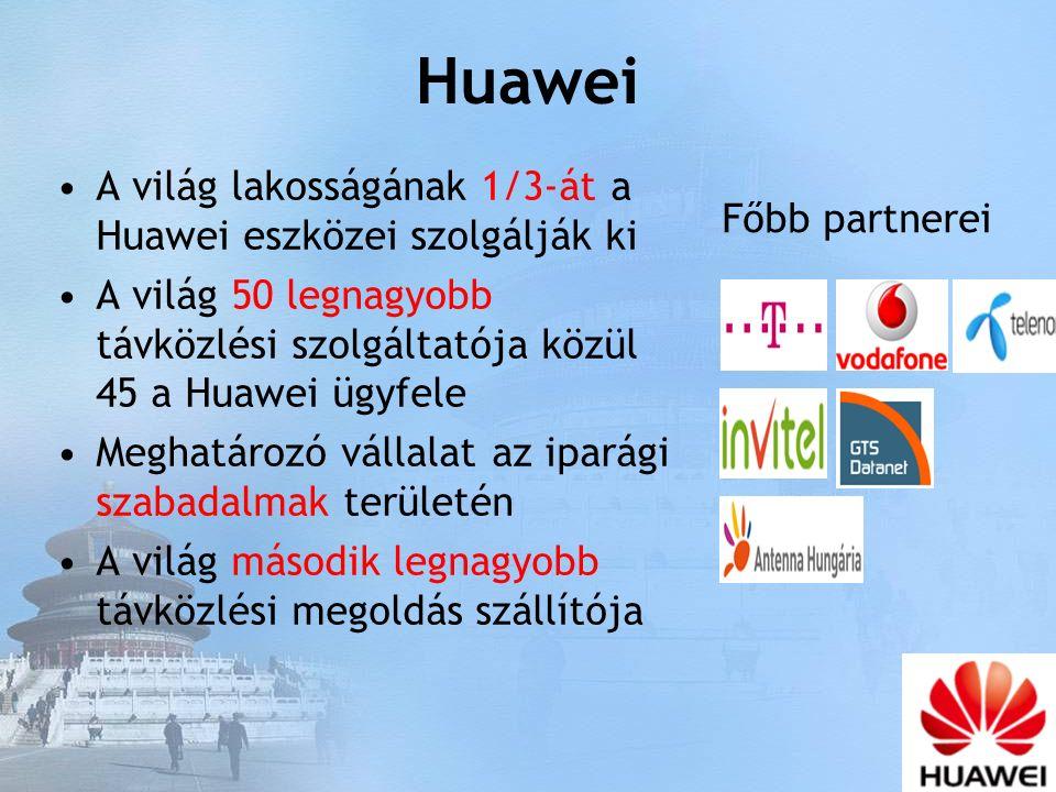 Huawei A világ lakosságának 1/3-át a Huawei eszközei szolgálják ki A világ 50 legnagyobb távközlési szolgáltatója közül 45 a Huawei ügyfele Meghatározó vállalat az iparági szabadalmak területén A világ második legnagyobb távközlési megoldás szállítója Főbb partnerei