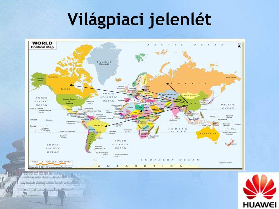 Hungary China Dubai Brazil Mexico India 2 globális ellátó központ: Ázsia (Kína), Európa (Magyarország) 4 regionális ellátó központ: Brazília, Mexico, India, Dubai Huawei globális és regionális ellátó központjai Magyarország a két globális központ egyike