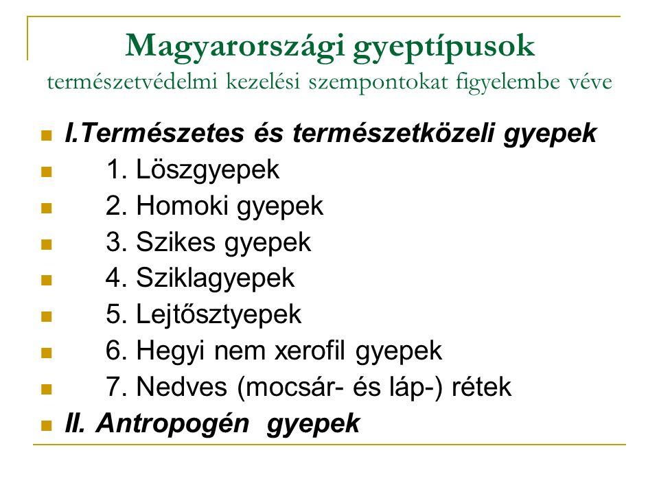 Magyarországi gyeptípusok természetvédelmi kezelési szempontokat figyelembe véve I.Természetes és természetközeli gyepek 1.