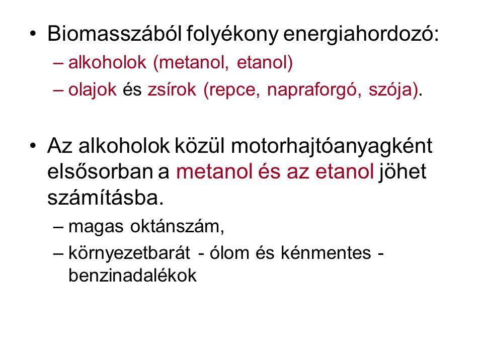 Biomasszából folyékony energiahordozó: –alkoholok (metanol, etanol) –olajok és zsírok (repce, napraforgó, szója).