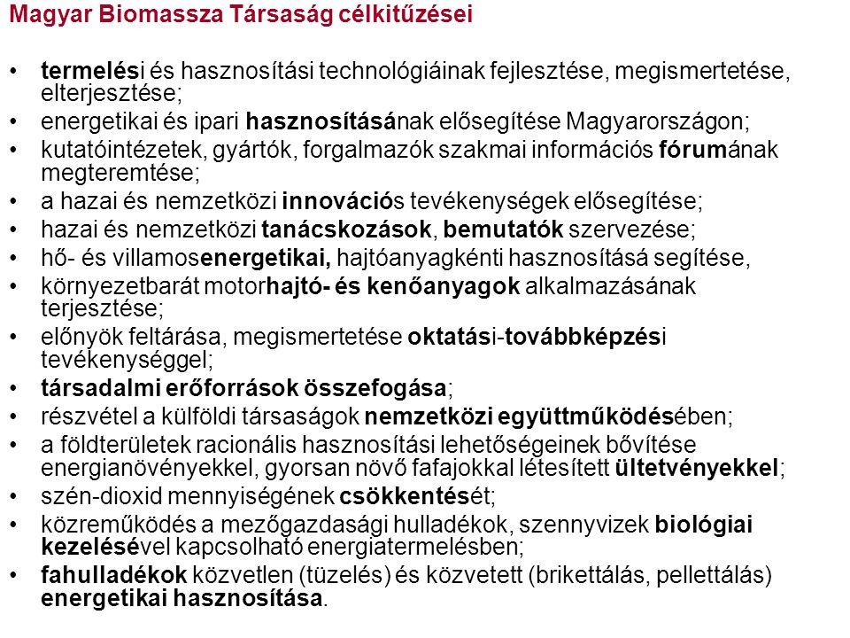 Magyar Biomassza Társaság célkitűzései termelési és hasznosítási technológiáinak fejlesztése, megismertetése, elterjesztése; energetikai és ipari hasznosításának elősegítése Magyarországon; kutatóintézetek, gyártók, forgalmazók szakmai információs fórumának megteremtése; a hazai és nemzetközi innovációs tevékenységek elősegítése; hazai és nemzetközi tanácskozások, bemutatók szervezése; hő- és villamosenergetikai, hajtóanyagkénti hasznosításá segítése, környezetbarát motorhajtó- és kenőanyagok alkalmazásának terjesztése; előnyök feltárása, megismertetése oktatási-továbbképzési tevékenységgel; társadalmi erőforrások összefogása; részvétel a külföldi társaságok nemzetközi együttműködésében; a földterületek racionális hasznosítási lehetőségeinek bővítése energianövényekkel, gyorsan növő fafajokkal létesített ültetvényekkel; szén-dioxid mennyiségének csökkentését; közreműködés a mezőgazdasági hulladékok, szennyvizek biológiai kezelésével kapcsolható energiatermelésben; fahulladékok közvetlen (tüzelés) és közvetett (brikettálás, pellettálás) energetikai hasznosítása.