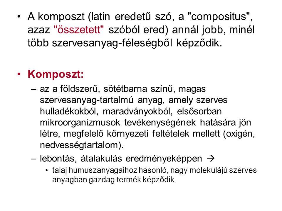 A komposzt (latin eredetű szó, a compositus , azaz összetett szóból ered) annál jobb, minél több szervesanyag-féleségből képződik.