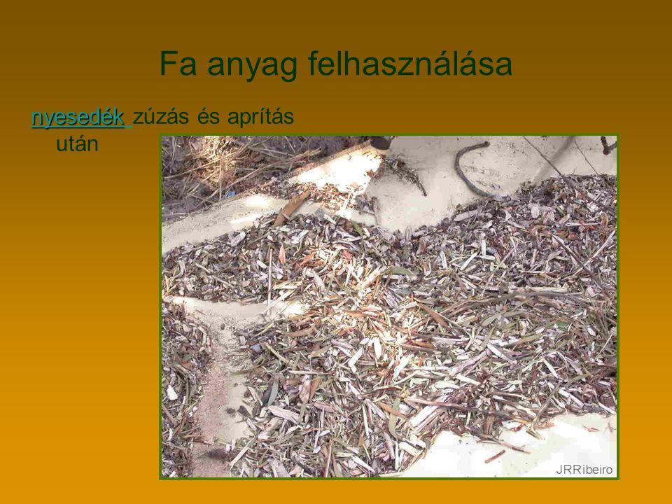 Fa anyag felhasználása nyesedék nyesedék nyesedék zúzás és aprítás után