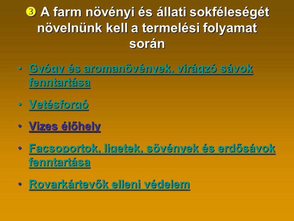  A farm növényi és állati sokféleségét növelnünk kell a termelési folyamat során Gyógy és aromanövények, virágzó sávok fenntartásaGyógy és aromanövények, virágzó sávok fenntartásaG VetésforgóVetésforgó Vizes élőhelyVizes élőhely Facsoportok, ligetek, sövények és erdősávok fenntartásaFacsoportok, ligetek, sövények és erdősávok fenntartásaFacsoportok, ligetek, sövények és erdősávok fenntartásaFacsoportok, ligetek, sövények és erdősávok fenntartása Rovarkártevők elleni védelemRovarkártevők elleni védelemRovarkártevők elleni védelemRovarkártevők elleni védelem