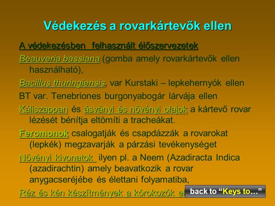 Védekezés a rovarkártevők ellen A védekezésben felhasznált élőszervezetek Beauveria bassiana Beauveria bassiana (gomba amely rovarkártevők ellen használható), Bacillus thuringiensis Bacillus thuringiensis, var Kurstaki – lepkehernyók ellen BT var.