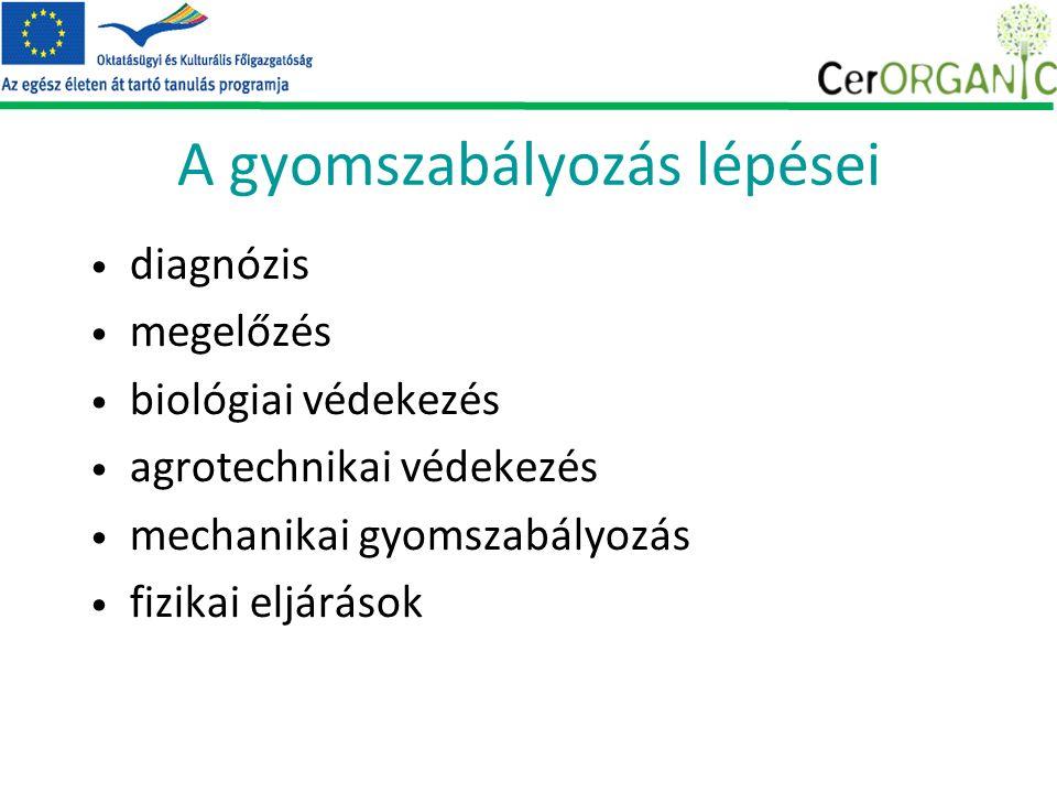 A gyomszabályozás lépései diagnózis megelőzés biológiai védekezés agrotechnikai védekezés mechanikai gyomszabályozás fizikai eljárások