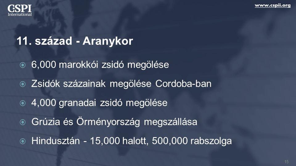11. század - Aranykor  6,000 marokkói zsidó megölése  Zsidók százainak megölése Cordoba-ban  4,000 granadai zsidó megölése  Grúzia és Örményország