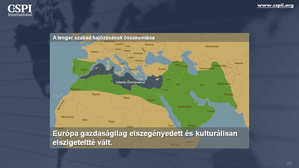 A tenger szabad hajózásának összeomlása Európa gazdaságilag elszegényedett és kulturálisan elszigeteltté vált. 29