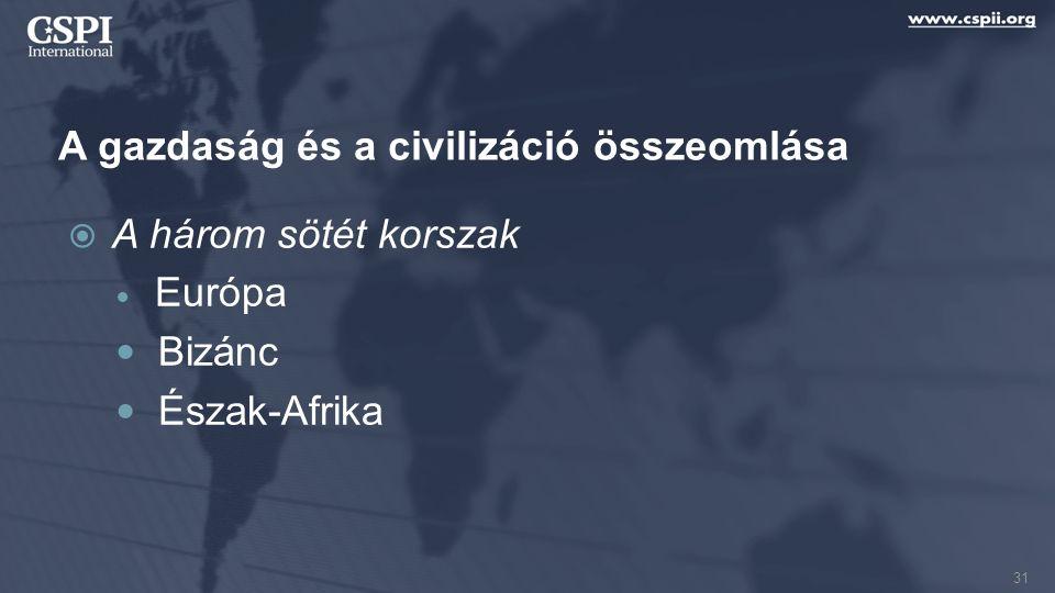 A gazdaság és a civilizáció összeomlása  A három sötét korszak Európa Bizánc Észak-Afrika 31
