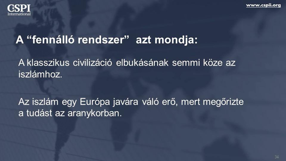 """A """"fennálló rendszer"""" azt mondja: A klasszikus civilizáció elbukásának semmi köze az iszlámhoz. Az iszlám egy Európa javára váló erő, mert megőrizte a"""