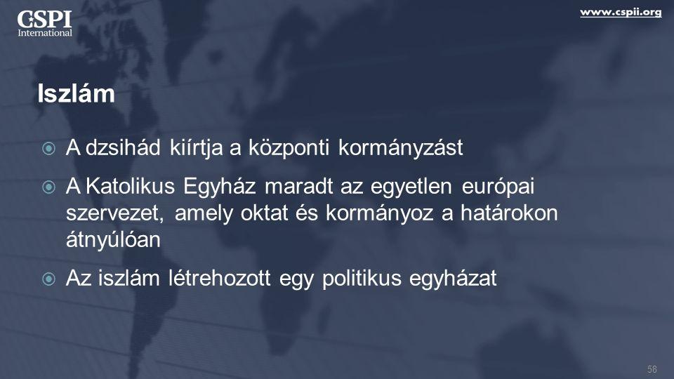 Iszlám  A dzsihád kiírtja a központi kormányzást  A Katolikus Egyház maradt az egyetlen európai szervezet, amely oktat és kormányoz a határokon átny