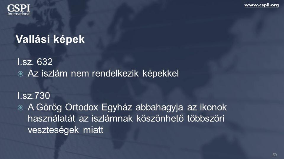 Vallási képek I.sz. 632  Az iszlám nem rendelkezik képekkel I.sz.730  A Görög Ortodox Egyház abbahagyja az ikonok használatát az iszlámnak köszönhet