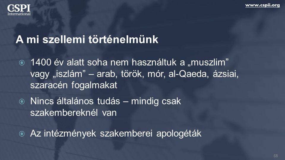 """A mi szellemi történelmünk  1400 év alatt soha nem használtuk a """"muszlim vagy """"iszlám – arab, török, mór, al-Qaeda, ázsiai, szaracén fogalmakat  Nincs általános tudás – mindig csak szakembereknél van  Az intézmények szakemberei apologéták 68"""