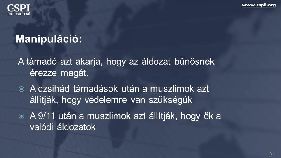 Manipuláció: A támadó azt akarja, hogy az áldozat bűnösnek érezze magát.  A dzsihád támadások után a muszlimok azt állítják, hogy védelemre van szüks