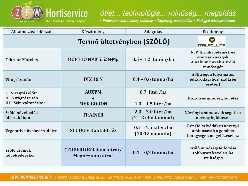 Alkalmazási időszakKészítményAdagolásEredmény Termő ültetvényben (SZŐLŐ) Február-Március DUETTO NPK 5.5.8+Mg0.5 – 1.2 tonna/ha N, P, K, mikroelemek és szerves anyagok A Kálium növeli a szőlő minőségét Virágzás után DIX 10 N0.4 – 0.6 tonna/ha A Nitrogén folyamatos feltáródásához (szükség esetén) I – Virágzás előtt II – Virágzás után III – Szín változáskor AUXYM + MYR BORON 0.7 liter/ha 1.0 – 1.5 liter/ha Hozam és minőség növelés Szőlő növekedési időszakában TRAINER 2.0 – 3.0 liter/ha (2 – 3 alkalommal) Növényi aminosavak segítik a növény fejlődését Vegetatív növekedés idején SCUDO + Kontakt réz 0.7 – 1.5 Liter/ha (10-12 naponta) Réz (felszívódó) és növényi aminosavak a gombás betegségek megelőzéséhez Szőlő szemek növekedésekor CERBERO Kálcium nitrát/ Magnézium nitrát 0,1 – 0,2 tonna/ha Szőlő minőségi fejlődése Többszöri kezelés, ha szükséges