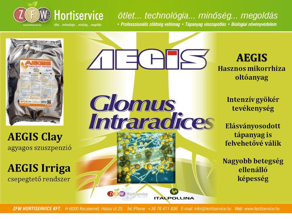AEGIS Hasznos mikorrhiza oltóanyag Intenzív gyökér tevékenység Elásványosodott tápanyag is felvehetővé válik Nagyobb betegség ellenálló képesség AEGIS Clay agyagos szuszpenzió AEGIS Irriga csepegtető rendszer