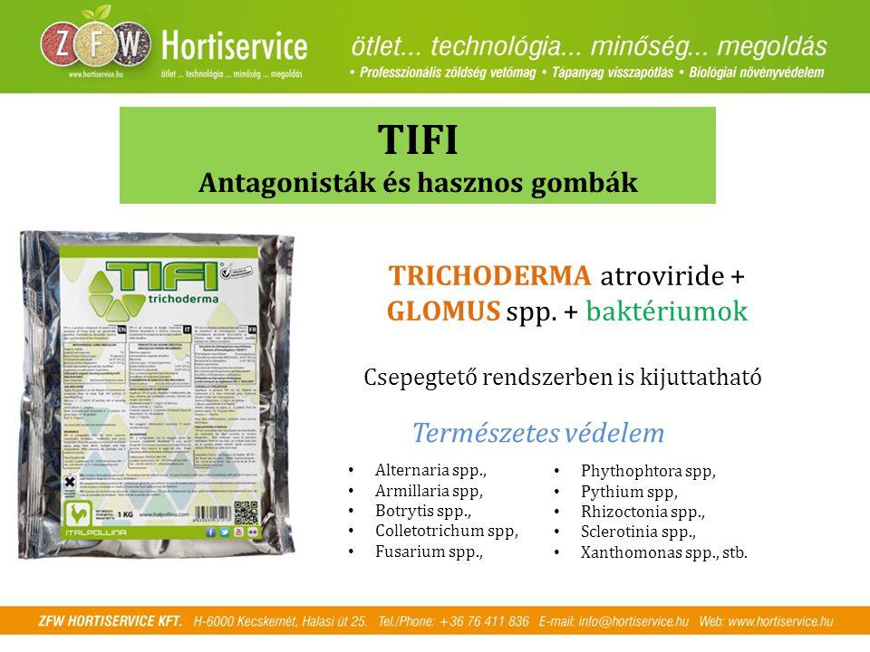 TIFI Antagonisták és hasznos gombák Alternaria spp., Armillaria spp, Botrytis spp., Colletotrichum spp, Fusarium spp., TRICHODERMA atroviride + GLOMUS