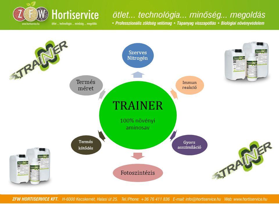 TRAINER 100% növényi aminosav Szerves Nitrogén Immun reakció Gyors asszimiláció Fotoszintézis Termés kötődés Termés méret