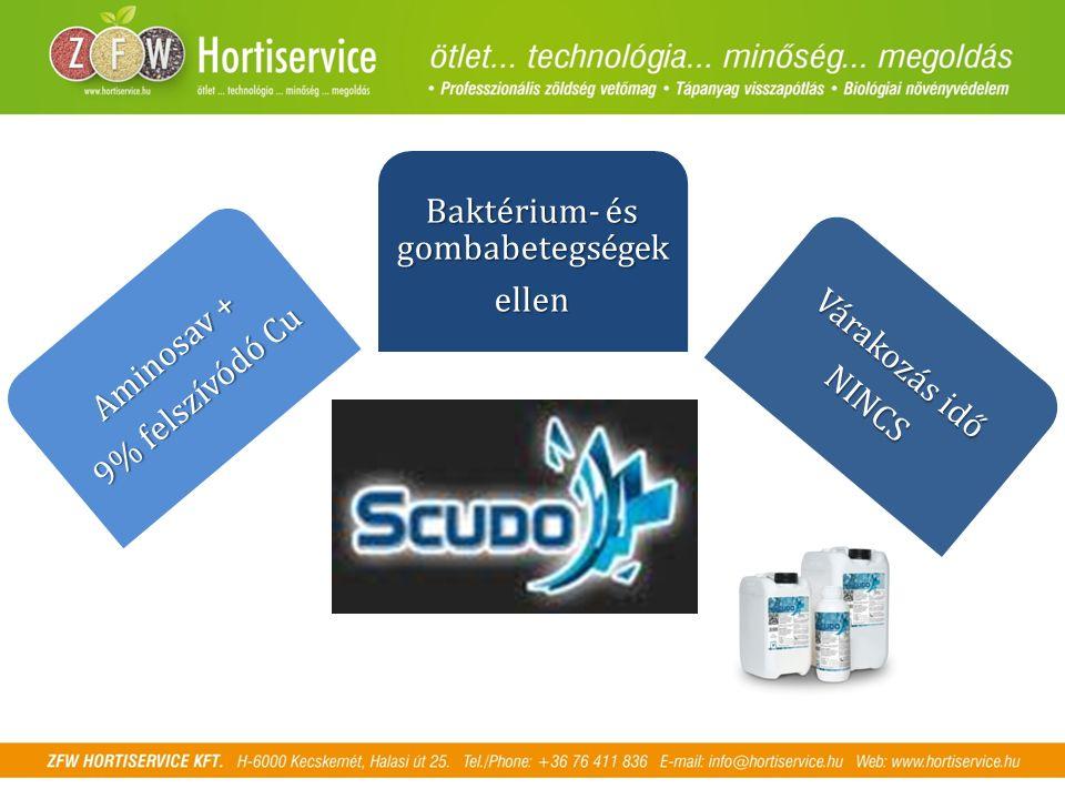 Aminosav + 9% felszívódó Cu Baktérium- és gombabetegségek ellen Várakozás idő NINCS