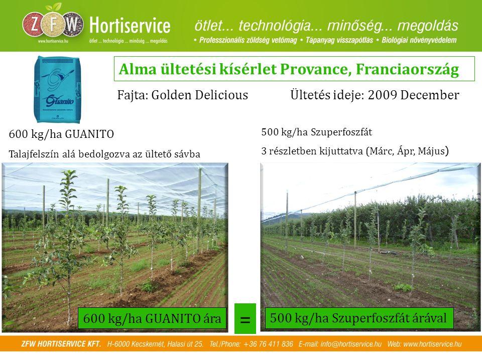 Alma ültetési kísérlet Provance, Franciaország Fajta: Golden DeliciousÜltetés ideje: 2009 December 600 kg/ha GUANITO Talajfelszín alá bedolgozva az ül