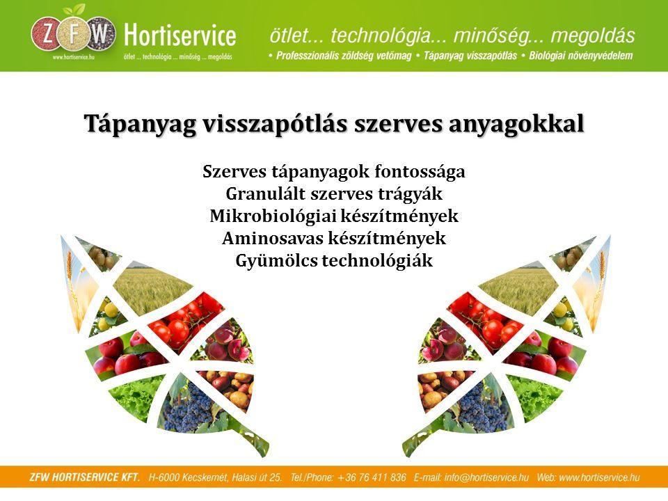 Tápanyag visszapótlás szerves anyagokkal Szerves tápanyagok fontossága Granulált szerves trágyák Mikrobiológiai készítmények Aminosavas készítmények Gyümölcs technológiák