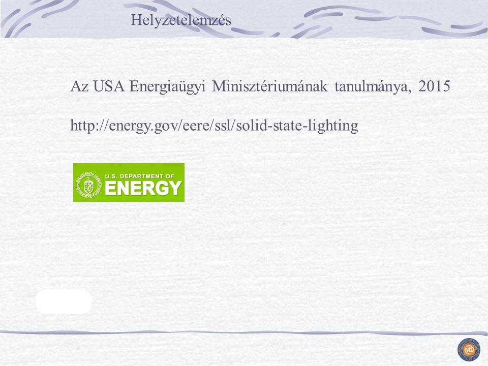 Helyzetelemzés Az USA Energiaügyi Minisztériumának tanulmánya, 2015 http://energy.gov/eere/ssl/solid-state-lighting