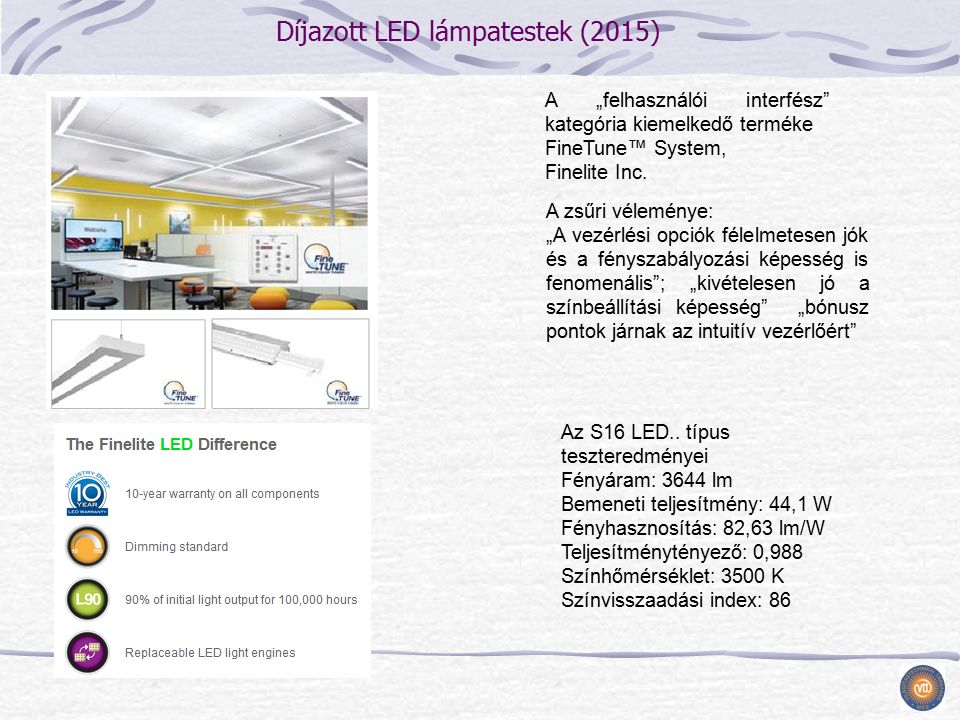 """Díjazott LED lámpatestek (2015) A """"felhasználói interfész kategória kiemelkedő terméke FineTune™ System, Finelite Inc."""