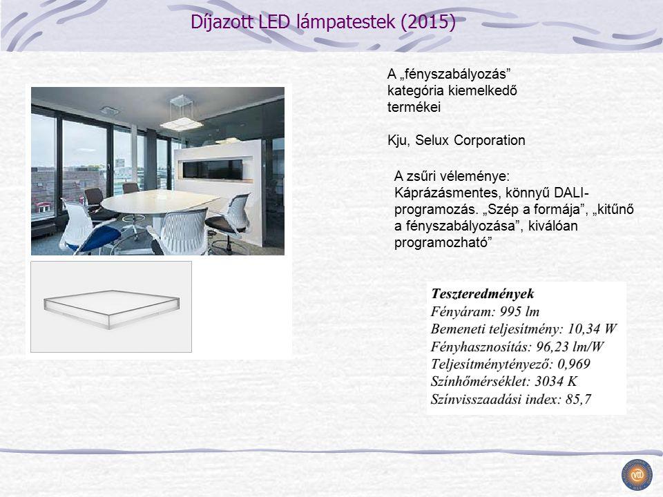 """Díjazott LED lámpatestek (2015) A """"fényszabályozás kategória kiemelkedő termékei Kju, Selux Corporation A zsűri véleménye: Káprázásmentes, könnyű DALI- programozás."""