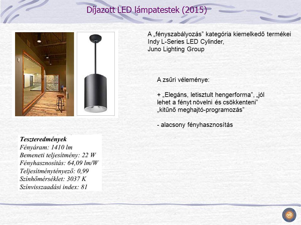 """Díjazott LED lámpatestek (2015) A zsűri véleménye: + """"Elegáns, letisztult hengerforma , """"jól lehet a fényt növelni és csökkenteni """"kitűnő meghajtó-programozás - alacsony fényhasznosítás A """"fényszabályozás kategória kiemelkedő termékei Indy L-Series LED Cylinder, Juno Lighting Group"""