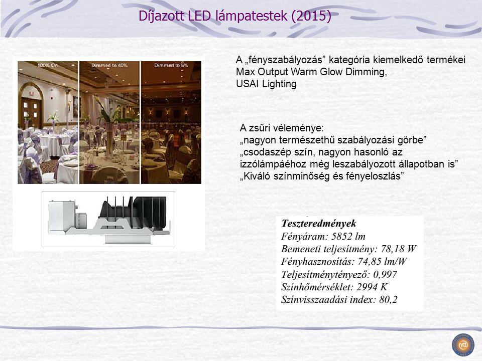 """Díjazott LED lámpatestek (2015) A zsűri véleménye: """"nagyon természethű szabályozási görbe """"csodaszép szín, nagyon hasonló az izzólámpáéhoz még leszabályozott állapotban is """"Kiváló színminőség és fényeloszlás A """"fényszabályozás kategória kiemelkedő termékei Max Output Warm Glow Dimming, USAI Lighting"""