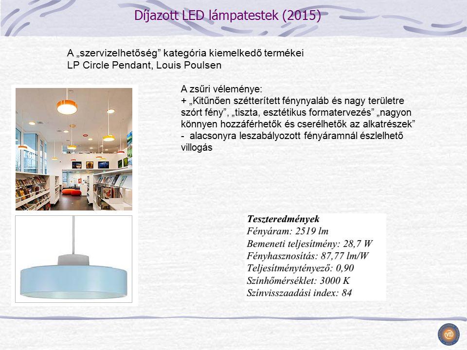 """Díjazott LED lámpatestek (2015) A zsűri véleménye: + """"Kitűnően szétterített fénynyaláb és nagy területre szórt fény , """"tiszta, esztétikus formatervezés """"nagyon könnyen hozzáférhetők és cserélhetők az alkatrészek - alacsonyra leszabályozott fényáramnál észlelhető villogás A """"szervizelhetőség kategória kiemelkedő termékei LP Circle Pendant, Louis Poulsen"""