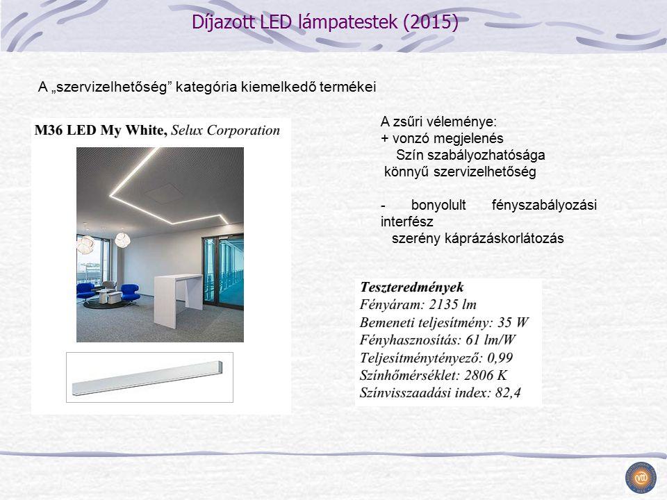 """Díjazott LED lámpatestek (2015) A """"szervizelhetőség kategória kiemelkedő termékei A zsűri véleménye: + vonzó megjelenés Szín szabályozhatósága könnyű szervizelhetőség - bonyolult fényszabályozási interfész szerény káprázáskorlátozás"""