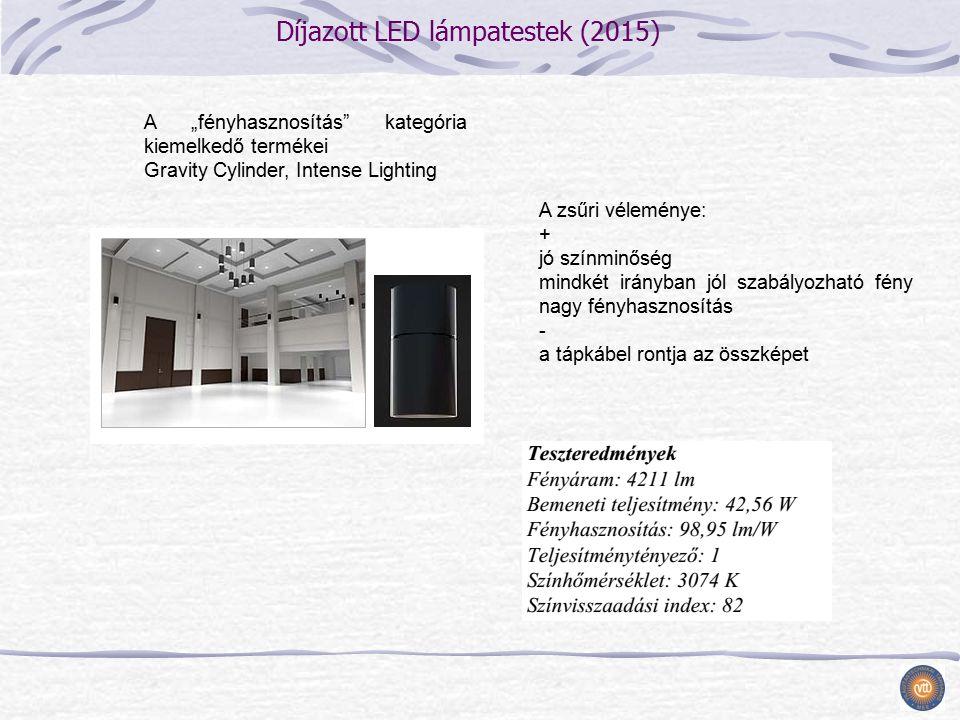"""Díjazott LED lámpatestek (2015) A zsűri véleménye: + jó színminőség mindkét irányban jól szabályozható fény nagy fényhasznosítás - a tápkábel rontja az összképet A """"fényhasznosítás kategória kiemelkedő termékei Gravity Cylinder, Intense Lighting"""