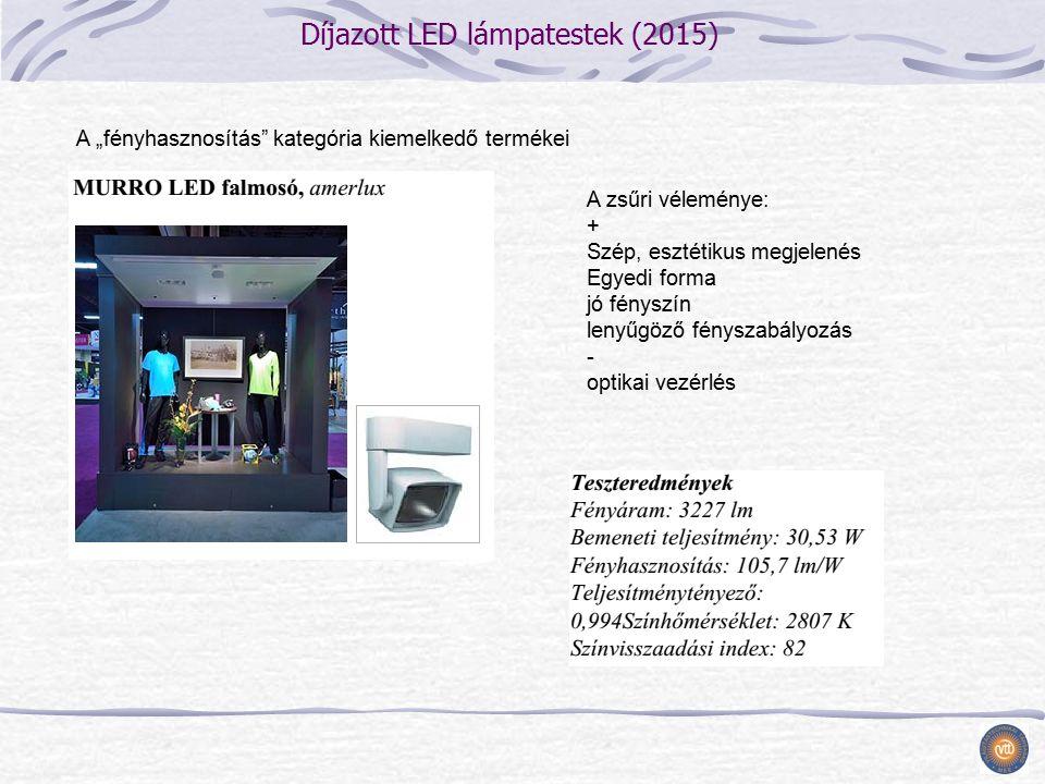 """Díjazott LED lámpatestek (2015) A zsűri véleménye: + Szép, esztétikus megjelenés Egyedi forma jó fényszín lenyűgöző fényszabályozás - optikai vezérlés A """"fényhasznosítás kategória kiemelkedő termékei"""