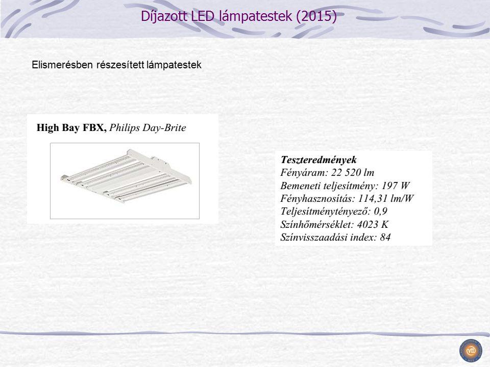 Díjazott LED lámpatestek (2015) Elismerésben részesített lámpatestek