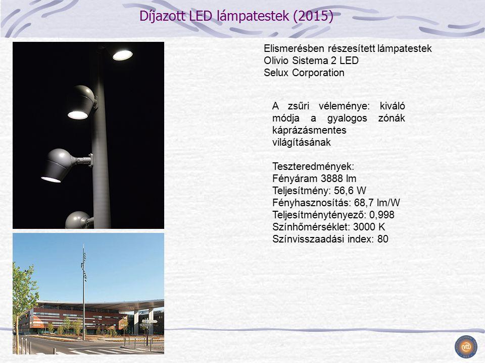 Díjazott LED lámpatestek (2015) A zsűri véleménye: kiváló módja a gyalogos zónák káprázásmentes világításának Teszteredmények: Fényáram 3888 lm Teljesítmény: 56,6 W Fényhasznosítás: 68,7 lm/W Teljesítménytényező: 0,998 Színhőmérséklet: 3000 K Színvisszaadási index: 80 Elismerésben részesített lámpatestek Olivio Sistema 2 LED Selux Corporation