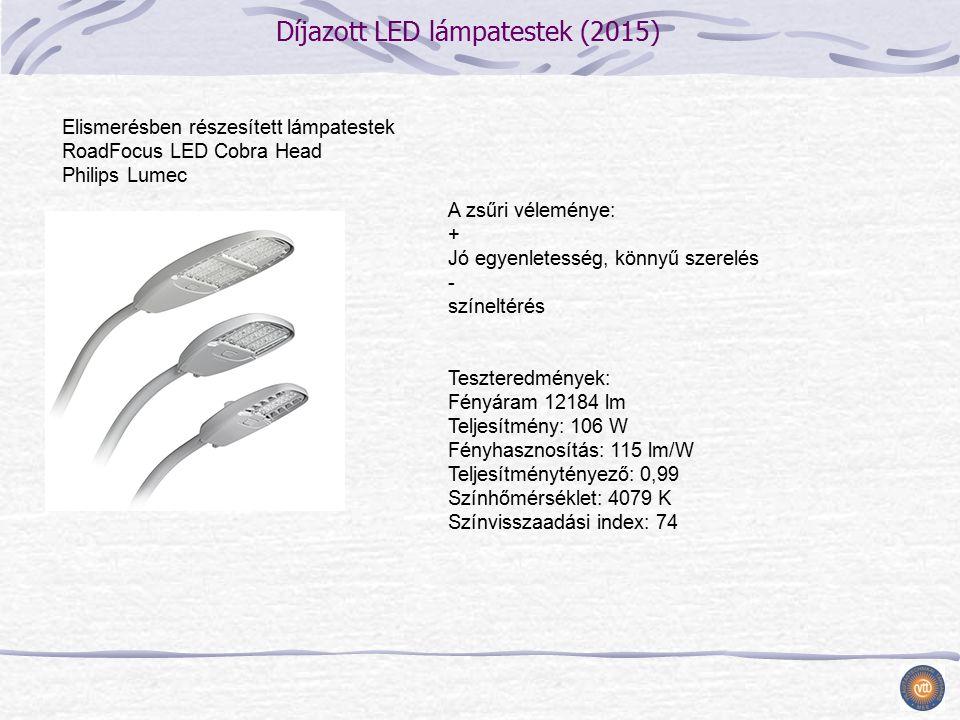 Díjazott LED lámpatestek (2015) A zsűri véleménye: + Jó egyenletesség, könnyű szerelés - színeltérés Teszteredmények: Fényáram 12184 lm Teljesítmény: 106 W Fényhasznosítás: 115 lm/W Teljesítménytényező: 0,99 Színhőmérséklet: 4079 K Színvisszaadási index: 74 Elismerésben részesített lámpatestek RoadFocus LED Cobra Head Philips Lumec
