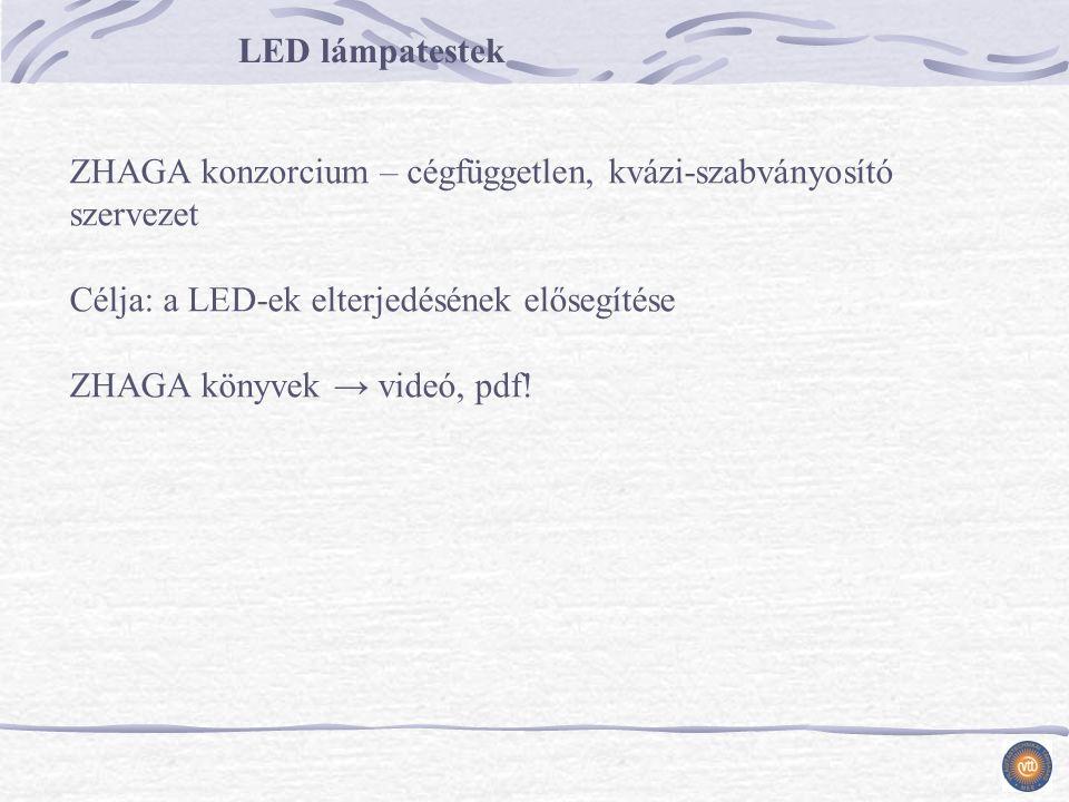 LED lámpatestek ZHAGA konzorcium – cégfüggetlen, kvázi-szabványosító szervezet Célja: a LED-ek elterjedésének elősegítése ZHAGA könyvek → videó, pdf!