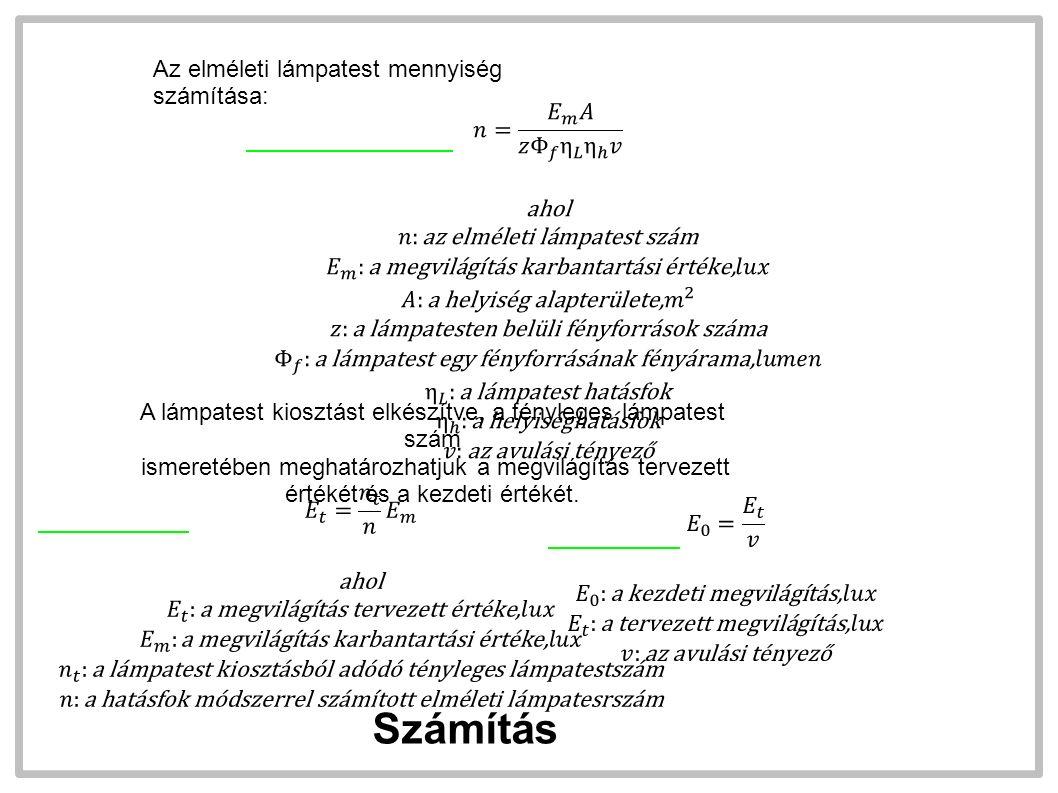 Az elméleti lámpatest mennyiség számítása: A lámpatest kiosztást elkészítve, a tényleges lámpatest szám ismeretében meghatározhatjuk a megvilágítás tervezett értékét és a kezdeti értékét.