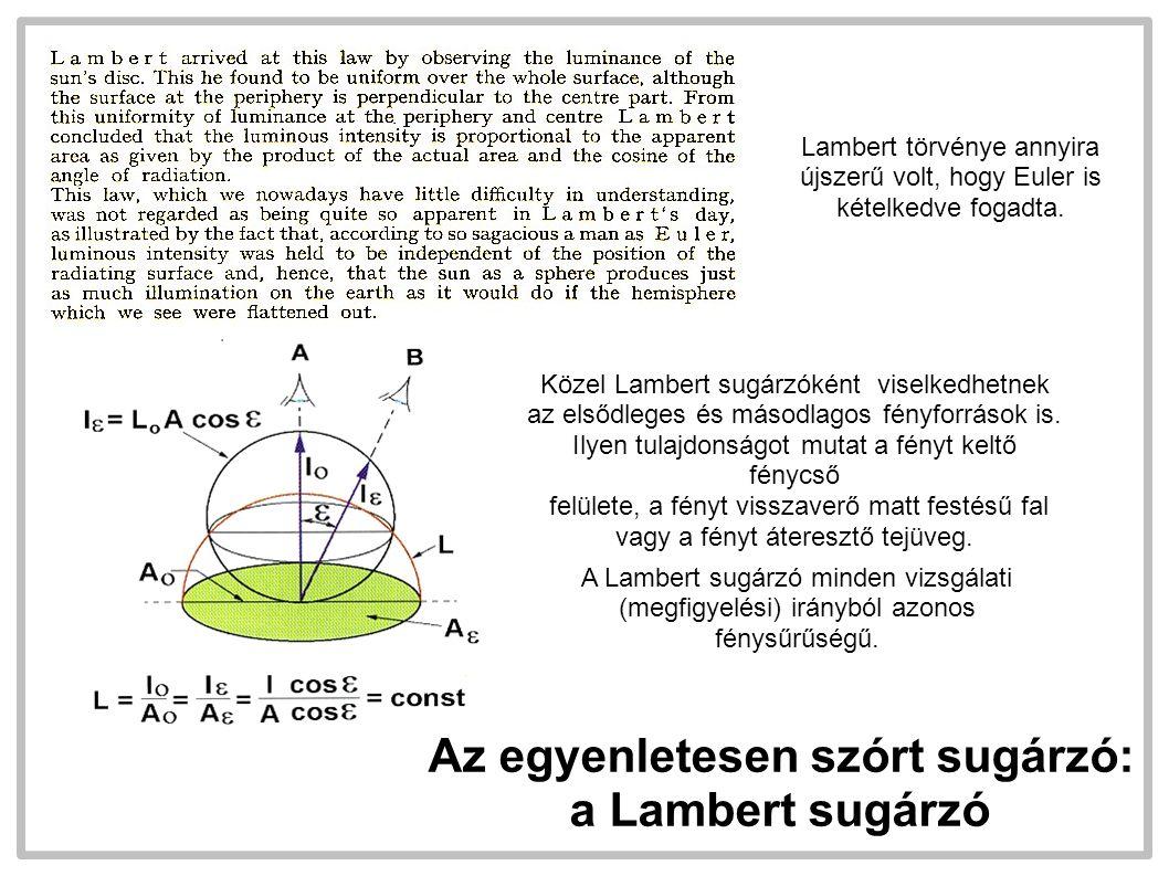 A,  I0rI0r E  LrLr Sík felületre merőleges irányban I 0 fényerősséggel sugárzó Lambert sugárzó kisugárzott fényárama: A nagyságú,  reflexiós tényezőjű Lambert sugárzó felületere jutó  fényáram által létrehozott megvilágítás: A felületről visszavert fényáram: A felület fényerőssége és fénysűrűsége: Megvilágítás, fénysűrűség, fénysűrűségi tényező Lambert sugárzó esetében a fénysűrűség arányos a megvilágítással, a szemlélési iránytól független, a kettő aránya a fénysűrűségi tényező.