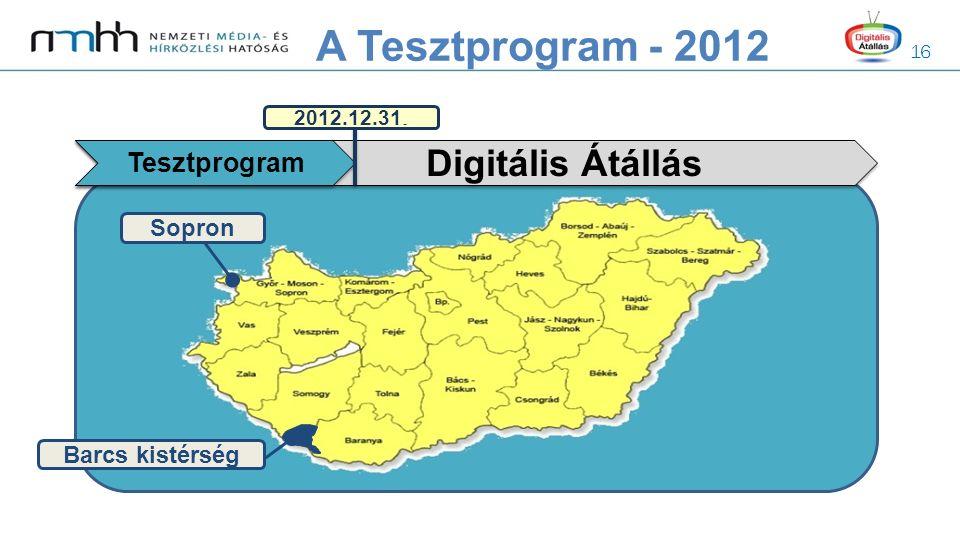 16 Digitális Átállás Tesztprogram 2012.12.31. Sopron Barcs kistérség A Tesztprogram - 2012