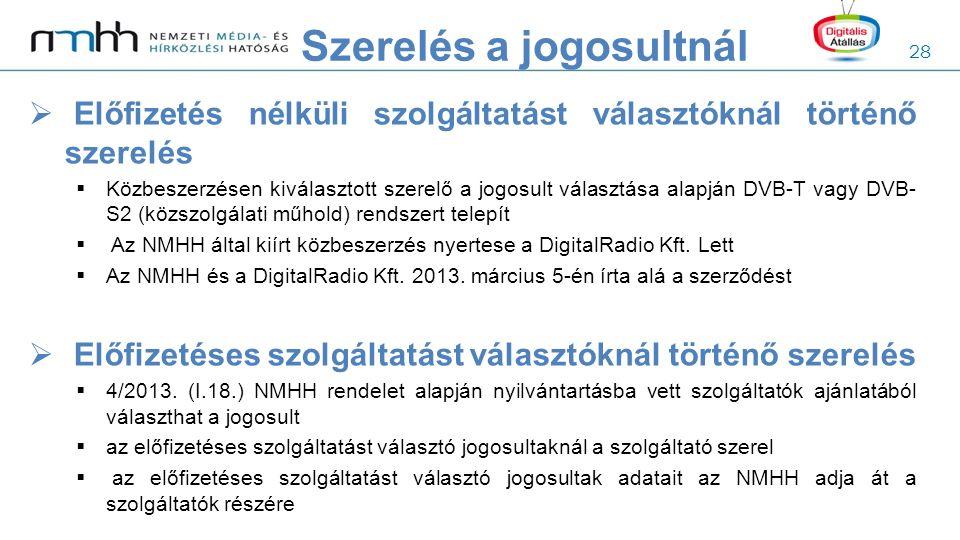 28  Előfizetés nélküli szolgáltatást választóknál történő szerelés  Közbeszerzésen kiválasztott szerelő a jogosult választása alapján DVB-T vagy DVB