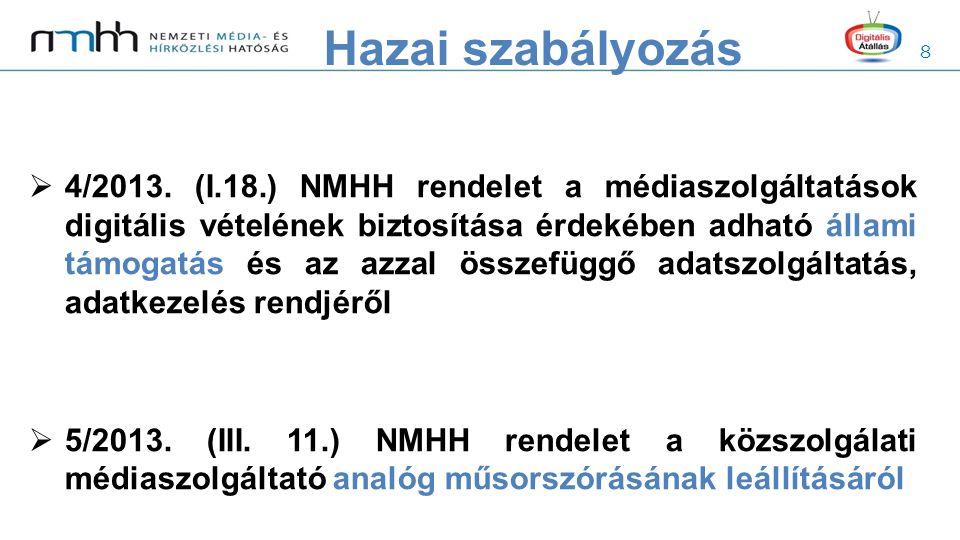 8  4/2013. (I.18.) NMHH rendelet a médiaszolgáltatások digitális vételének biztosítása érdekében adható állami támogatás és az azzal összefüggő adats