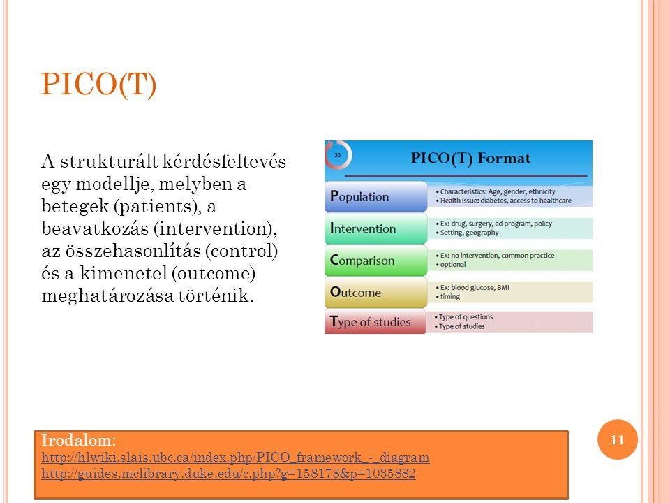 PICO(T) 11 A strukturált kérdésfeltevés egy modellje, melyben a betegek (patients), a beavatkozás (intervention), az összehasonlítás (control) és a kimenetel (outcome) meghatározása történik.