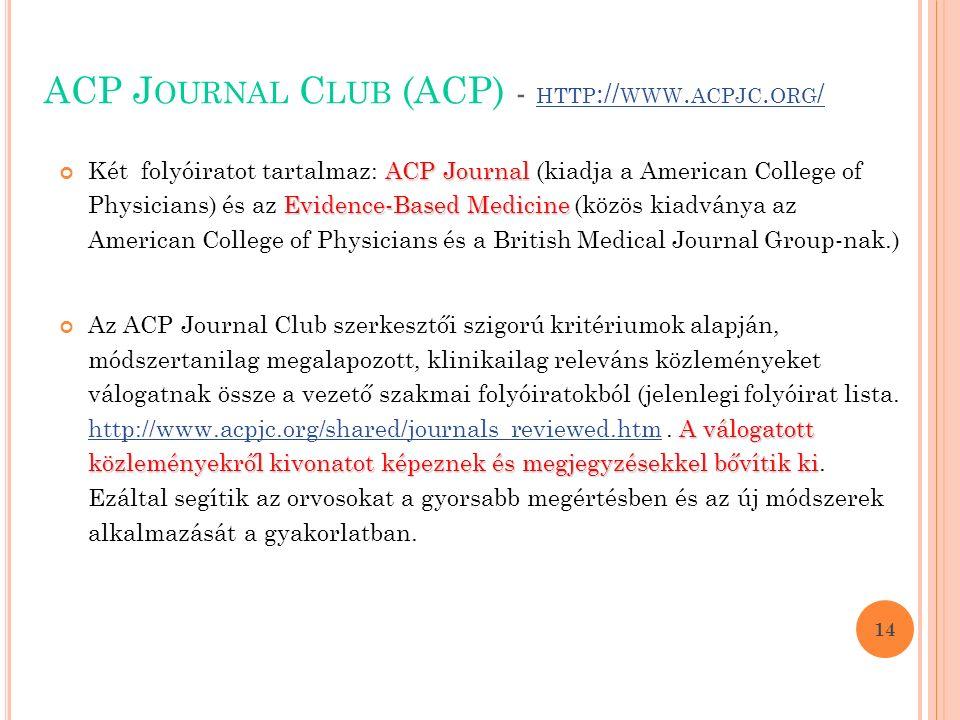 ACP J OURNAL C LUB (ACP) - HTTP :// WWW. ACPJC. ORG / HTTP :// WWW.