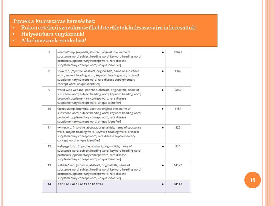 45 Tippek a kulcsszavas kereséshez: Rokon értelmű szavakra/szűkebb területek kulcsszavaira is keressünk.