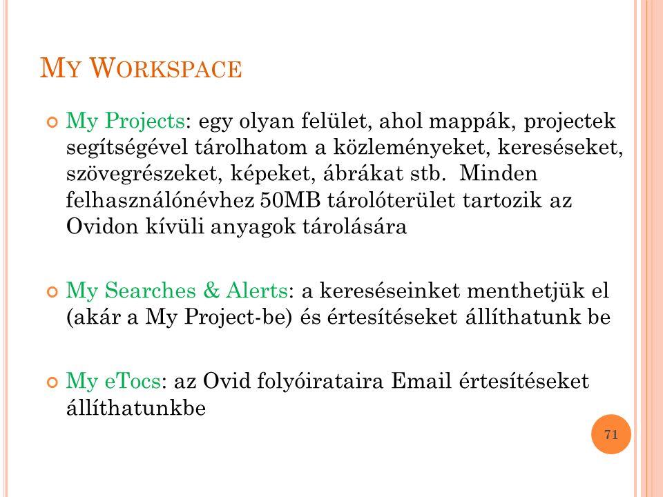 M Y W ORKSPACE My Projects: egy olyan felület, ahol mappák, projectek segítségével tárolhatom a közleményeket, kereséseket, szövegrészeket, képeket, ábrákat stb.